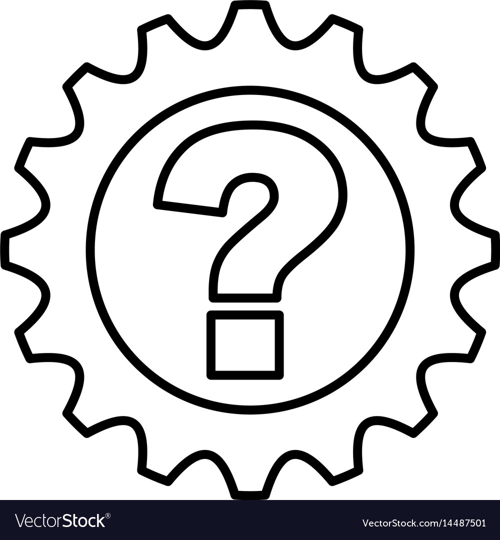 Gear machine with question isolated icon