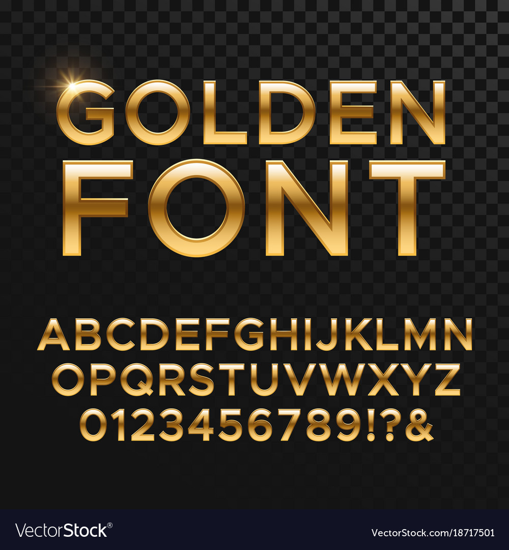 Golden glossy font or gold alphabet yellow