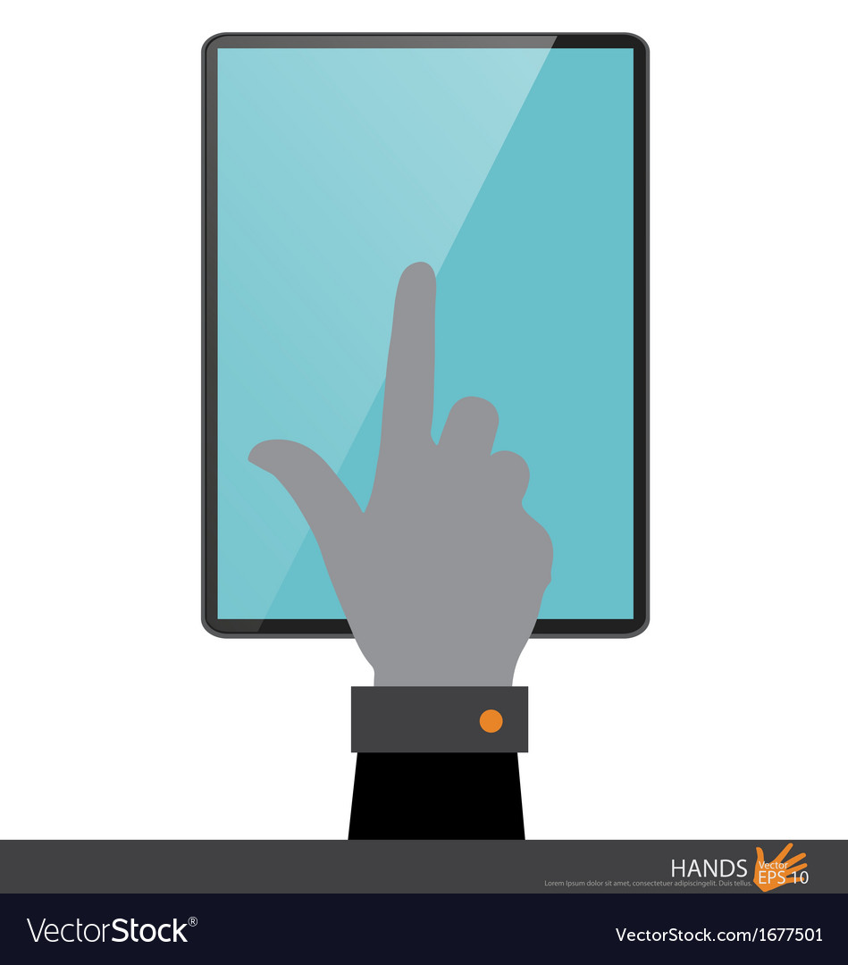Hand touching on tablet pc