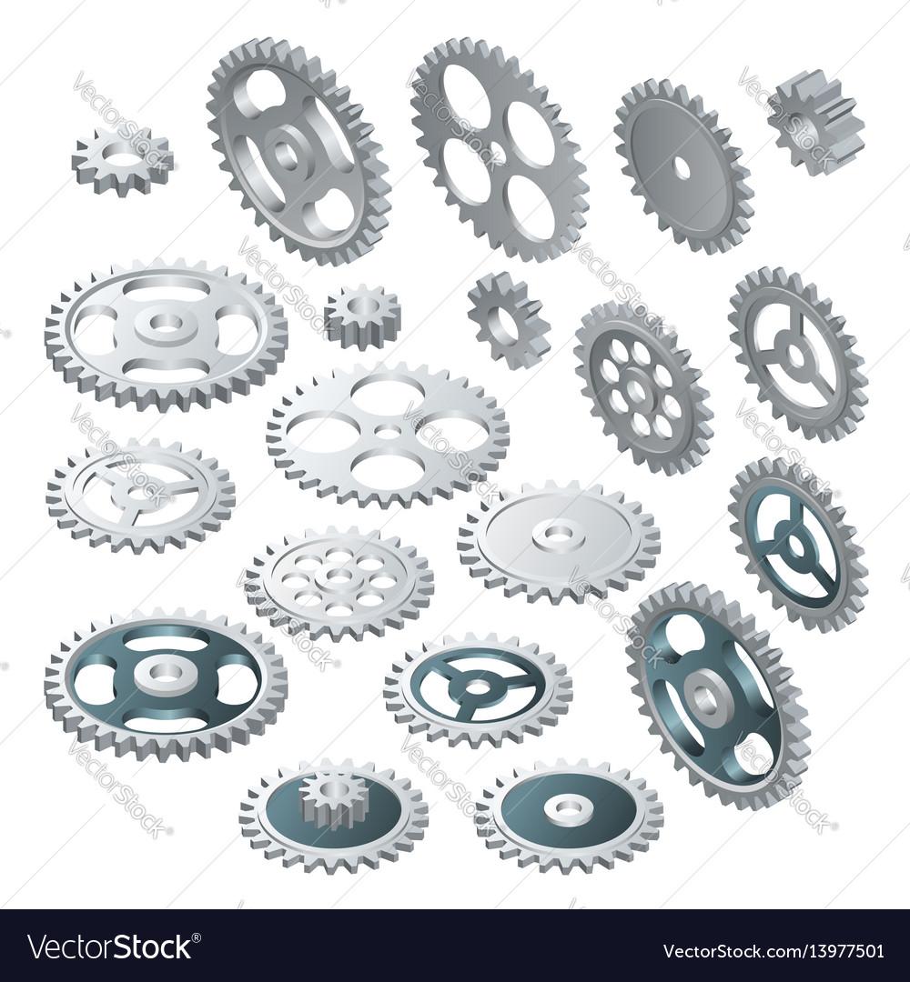 Isometric big set of a gear wheels