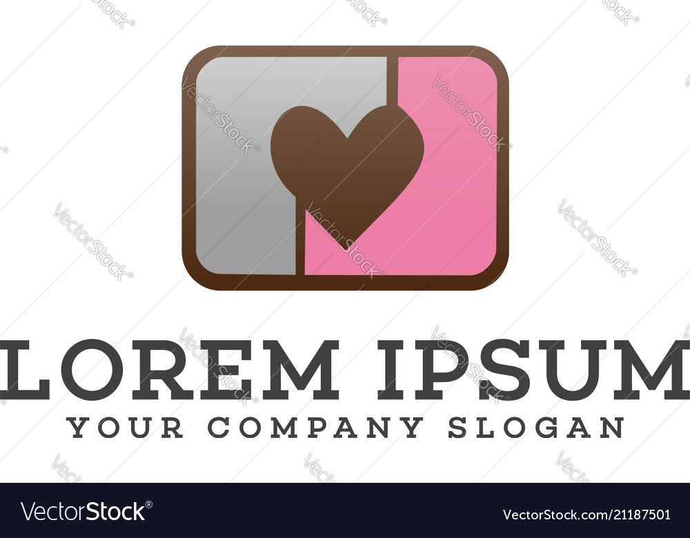 Love camera logo design concept template