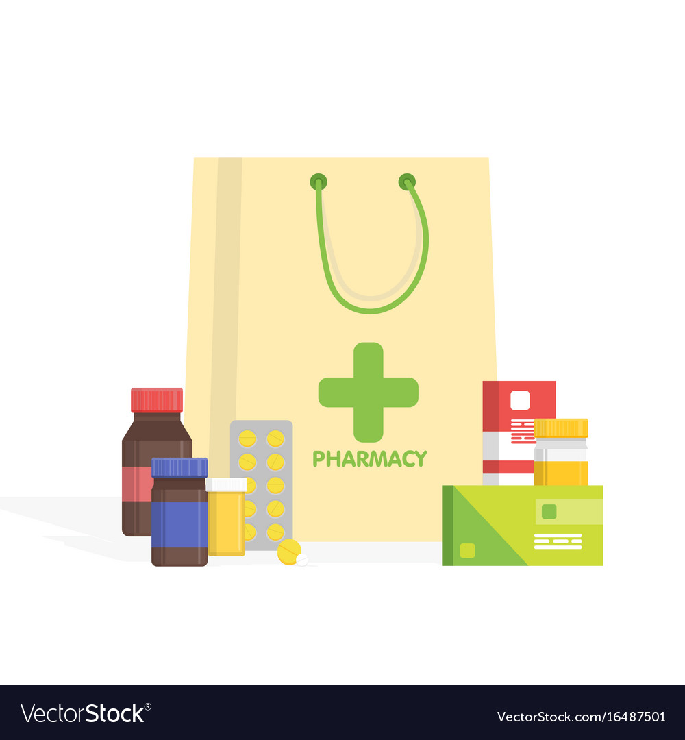 Modern isolated pharmacy and drugstore simple vector image