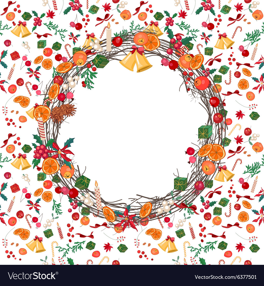 Round festive Christmas wreath with fruits