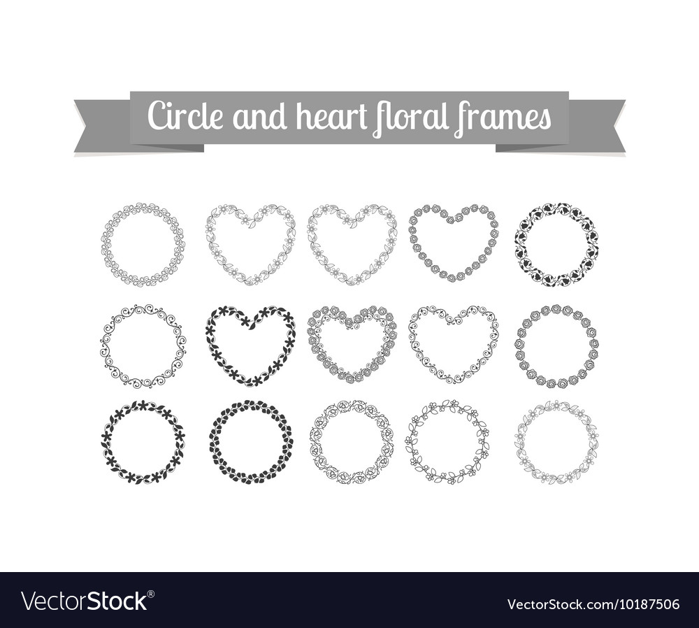 Circle and heart floral frames set
