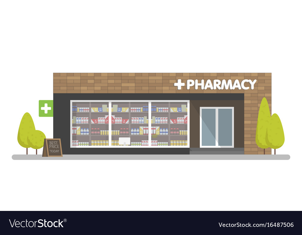 Facade of pharmacy in the urban space the sale of