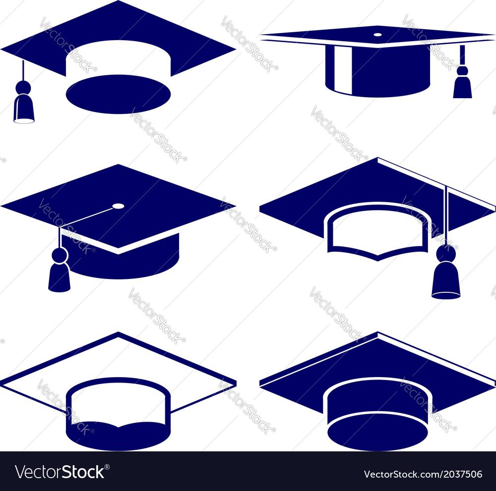 Graduation cap icon set