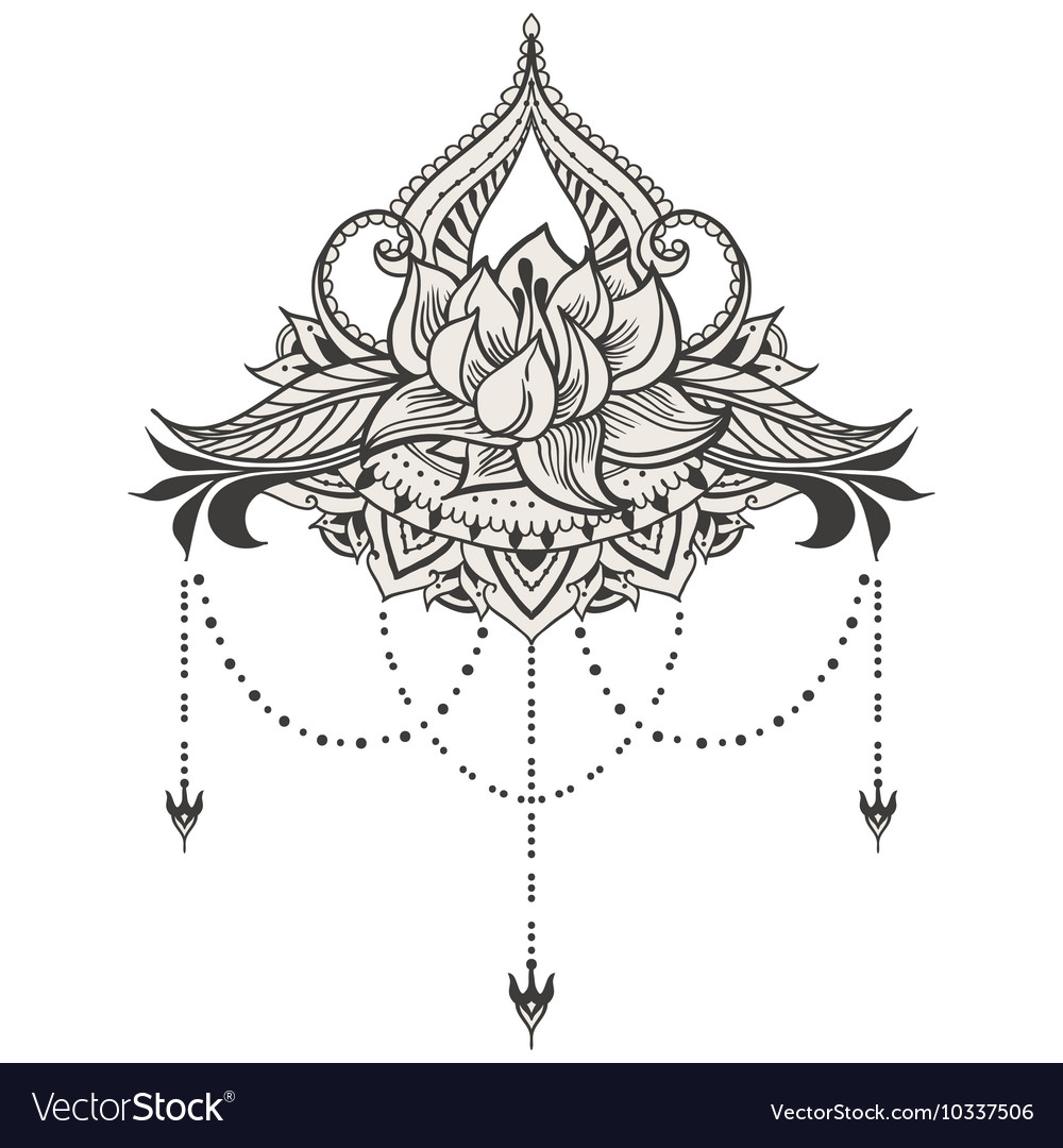 Hand-drawn lotus in east style