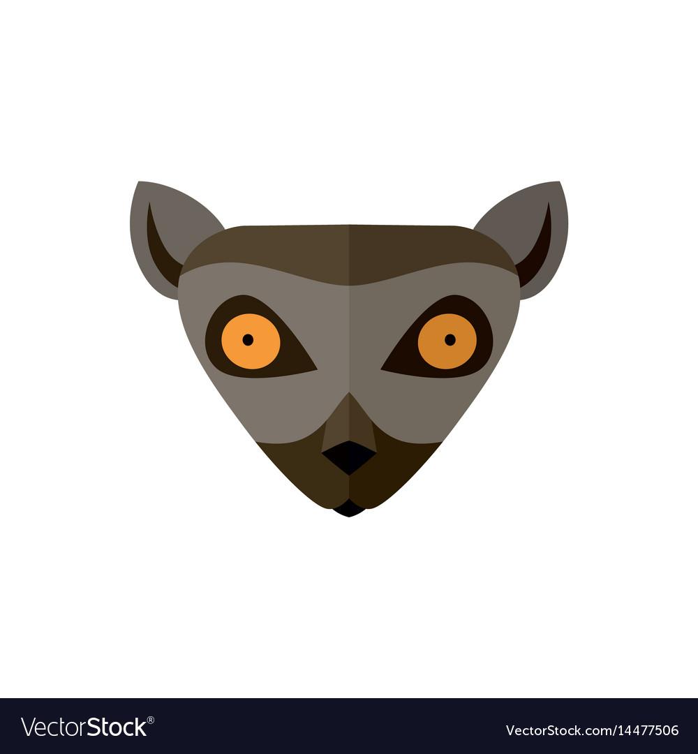 Lemur head icon in flat design
