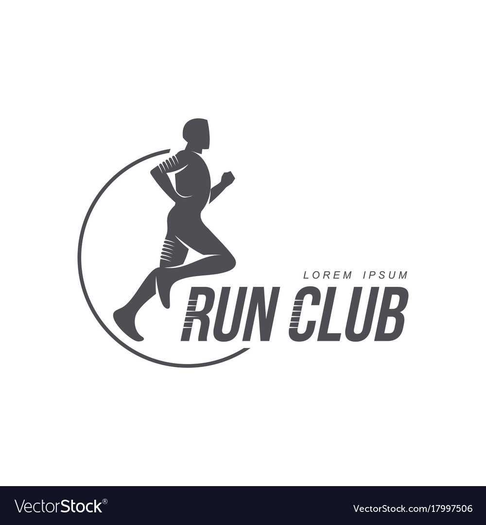 Man running jogging club icon isolated
