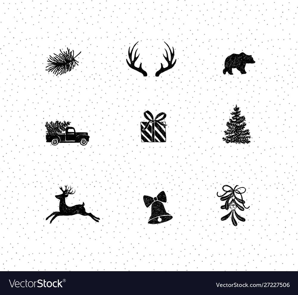 Set christmas decorative icons