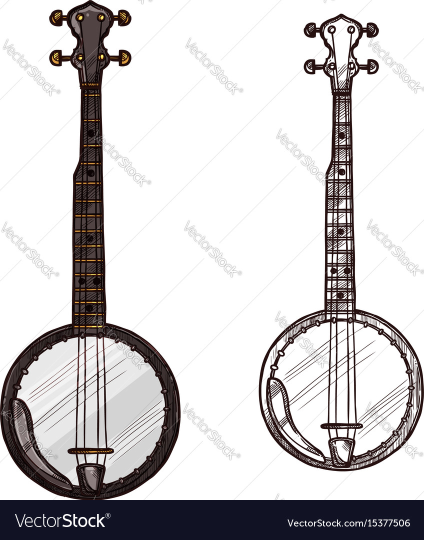Sketch banjo guitar musical instrument