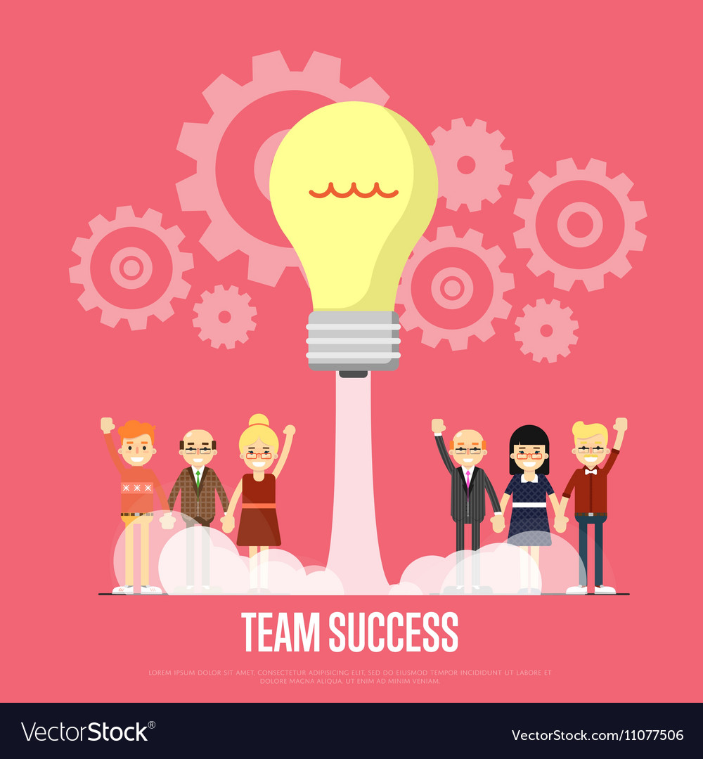 Team success banner with business peole vector image