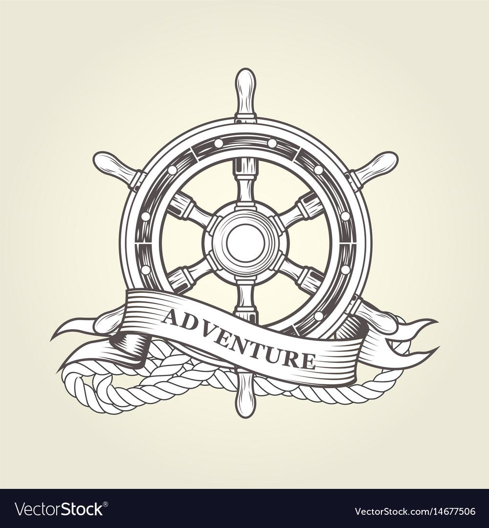 Vintage steering wheel - nautical handwheel emblem vector image