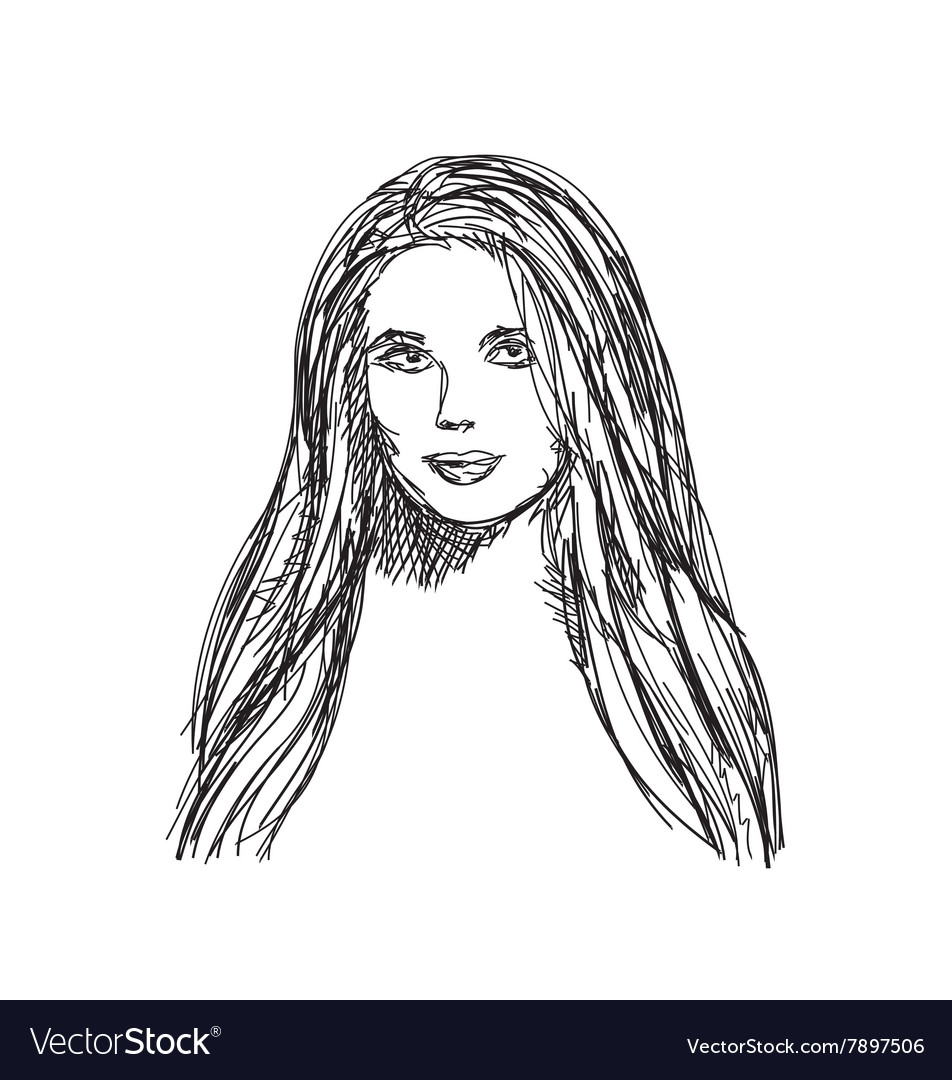 Young woman sketch Hair and face