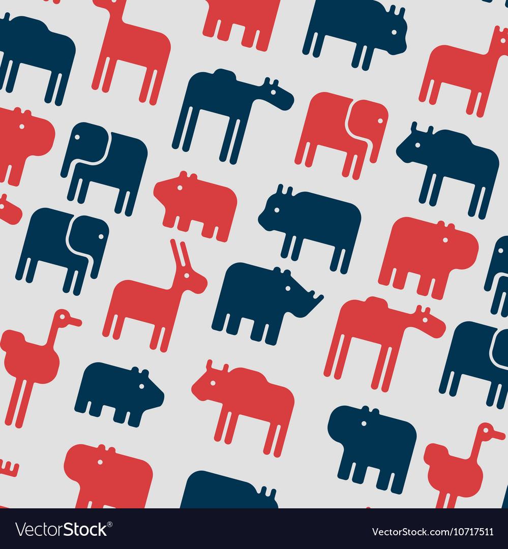 Animals silhouette seamless pattern