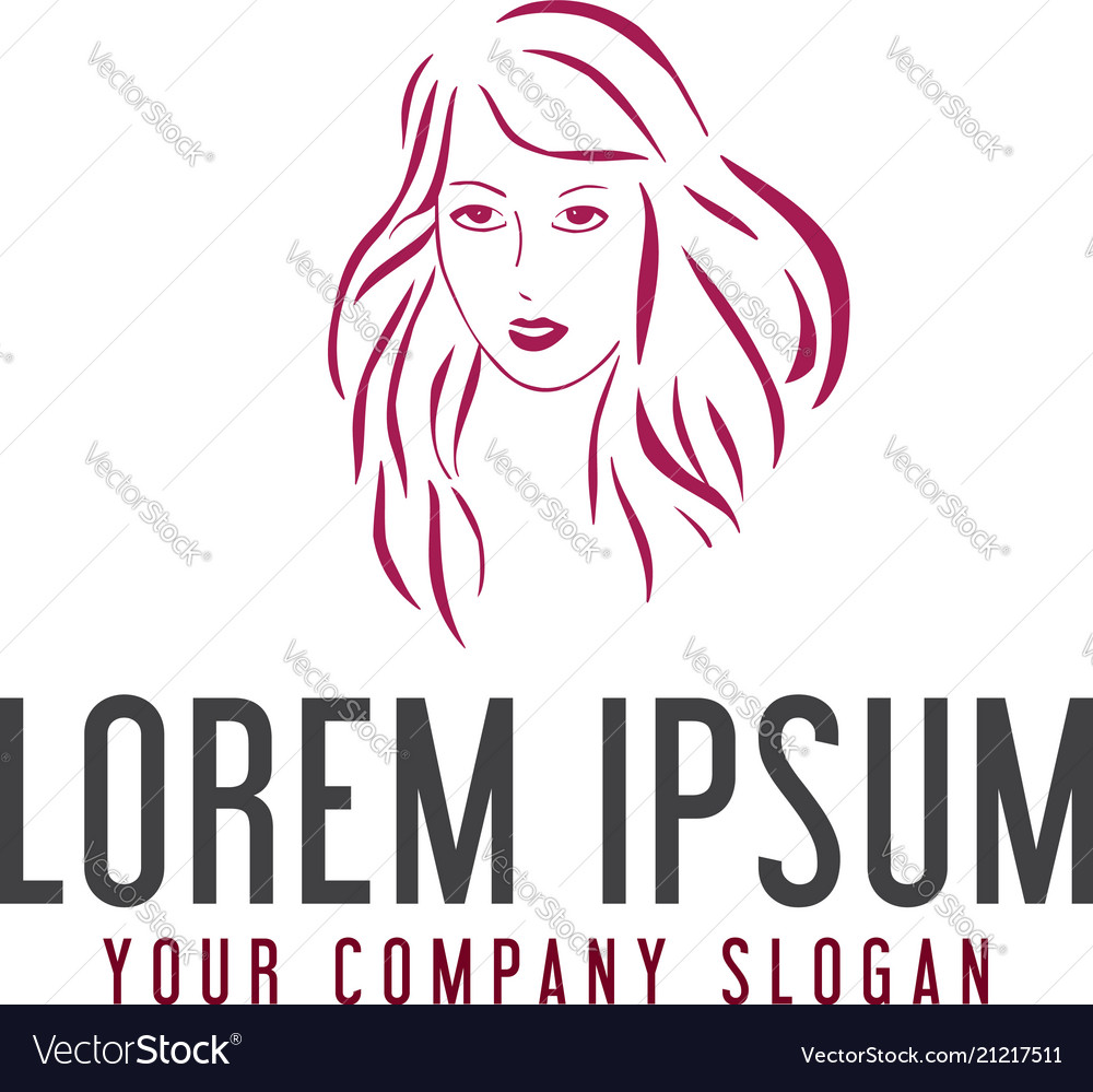 Beauty woman logo hand drawn design concept
