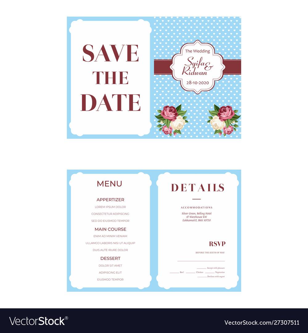 Blue Background Wedding Invitation Template