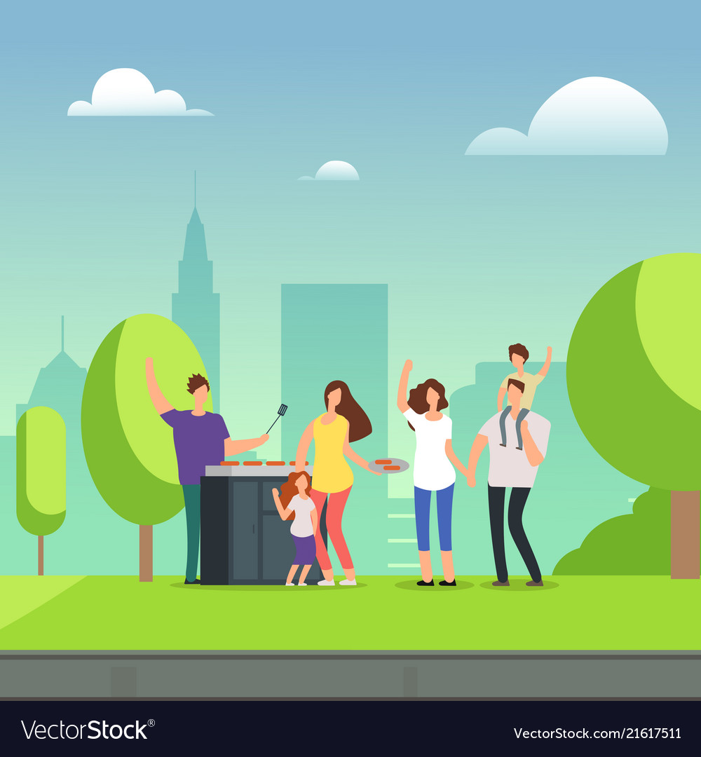 cartoon character families resting on bbq picnic vector image