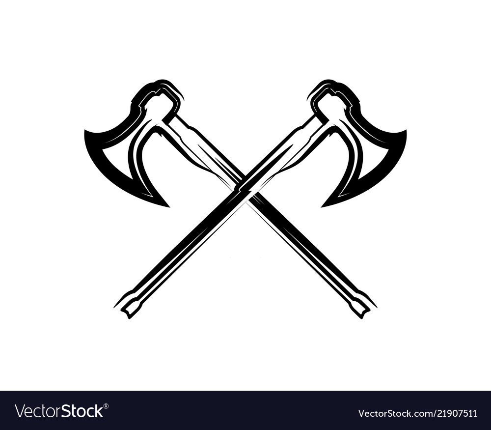 Crossed medieval warrior axes