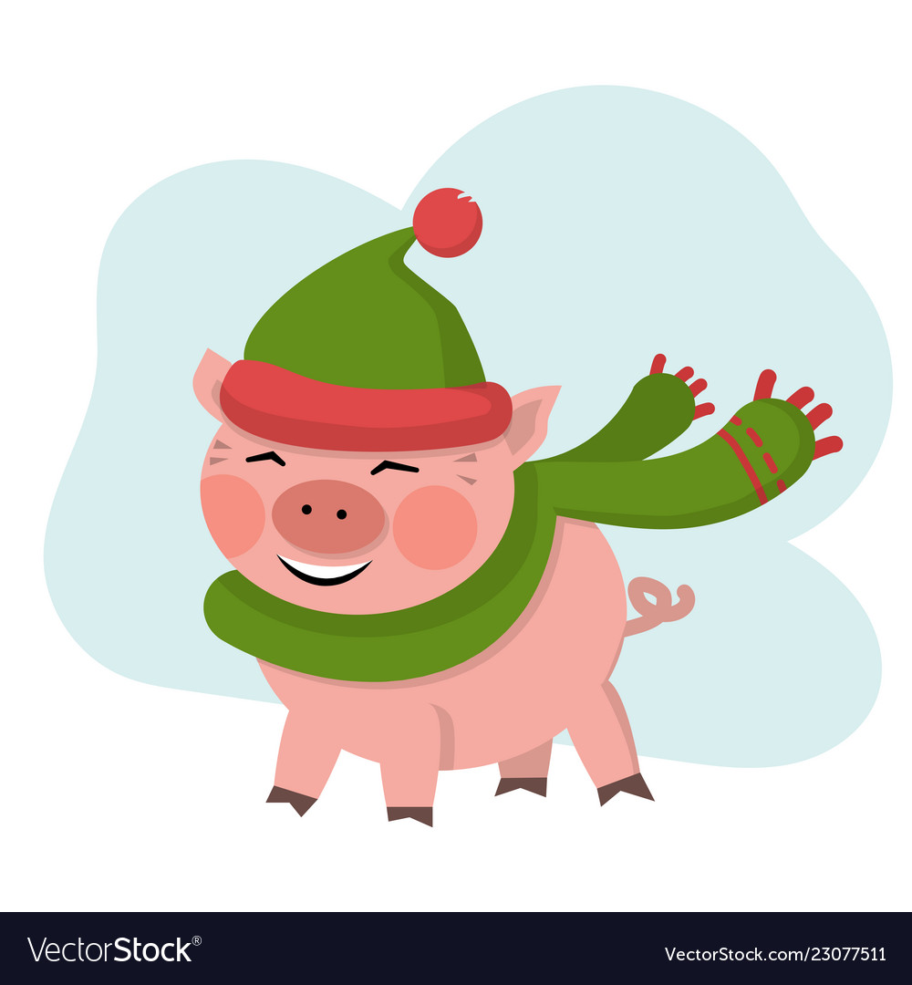 Cute pig smile in green hat