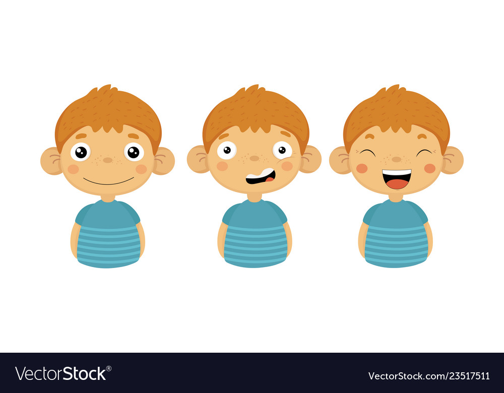 Flat set of little boy with different