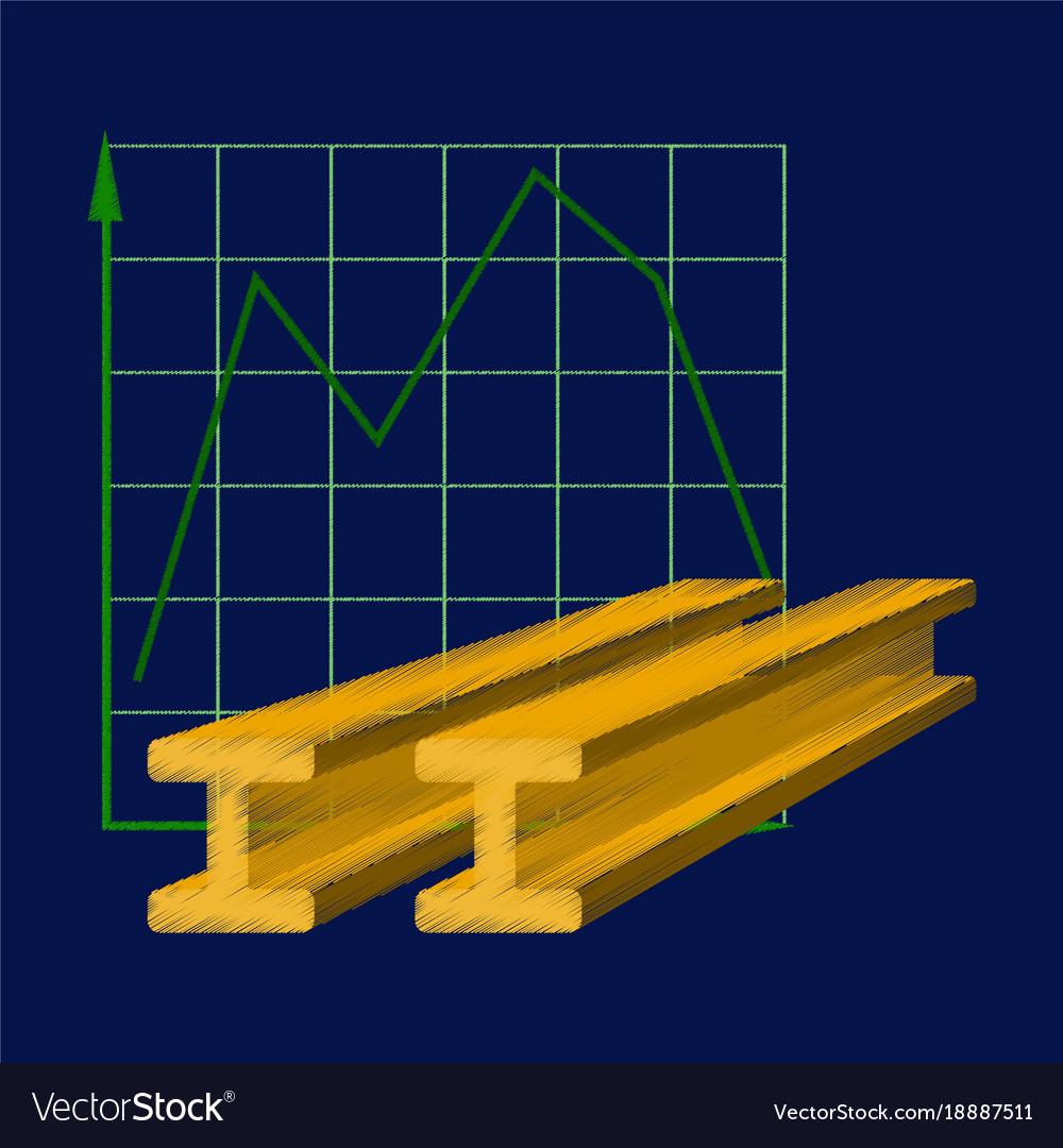 Flat shading style icon falling graph