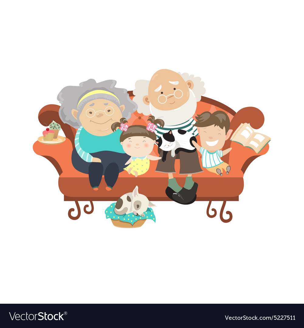 Дедушка с внуками прикольные картинки, открытка днем рождения