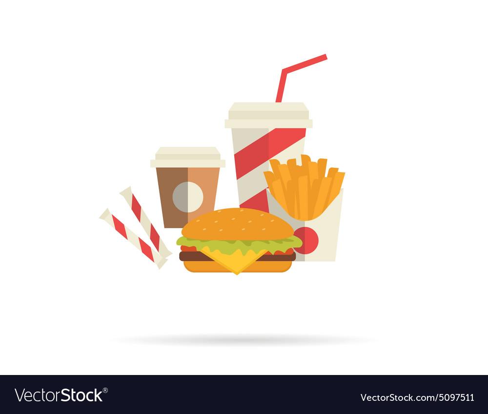 Hamburger and attributes vector image