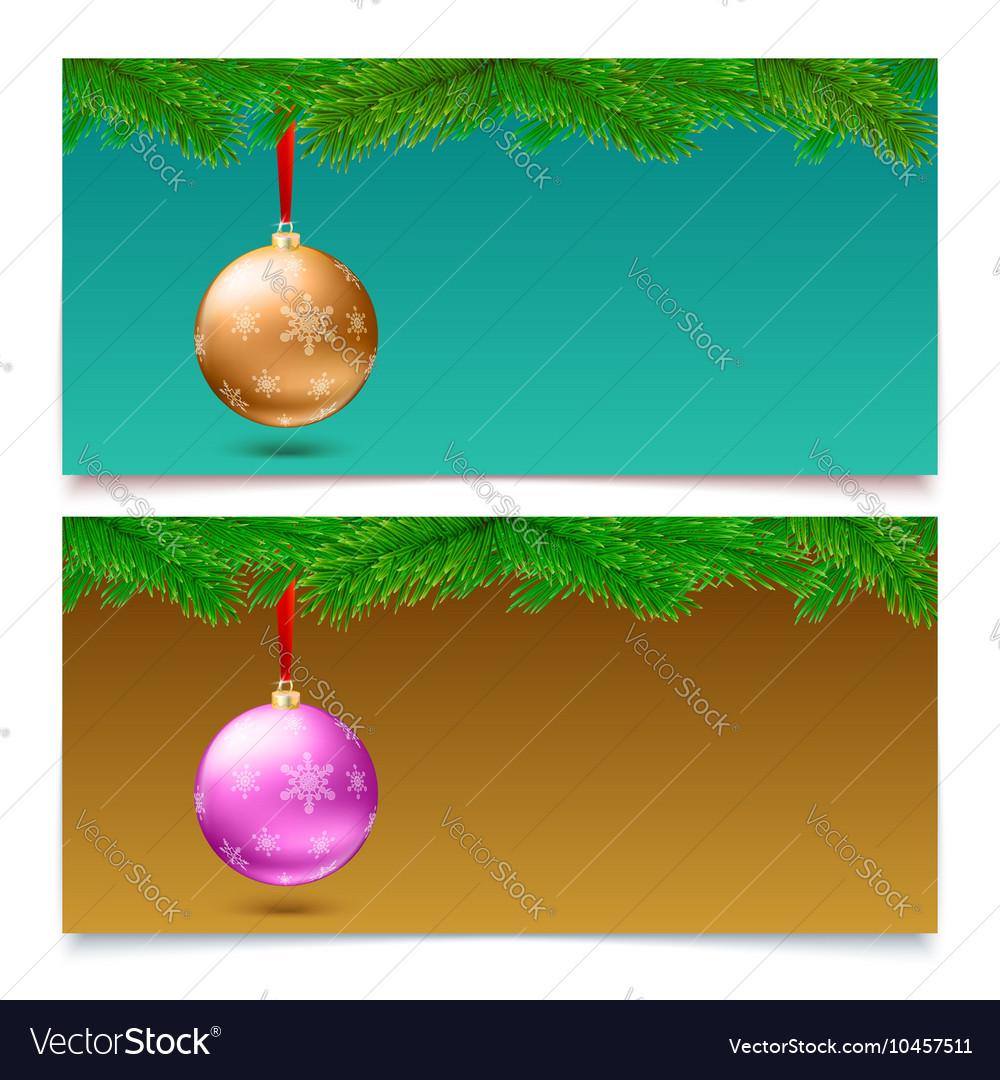 Horizontal Christmas banners Fir tree branches vector image