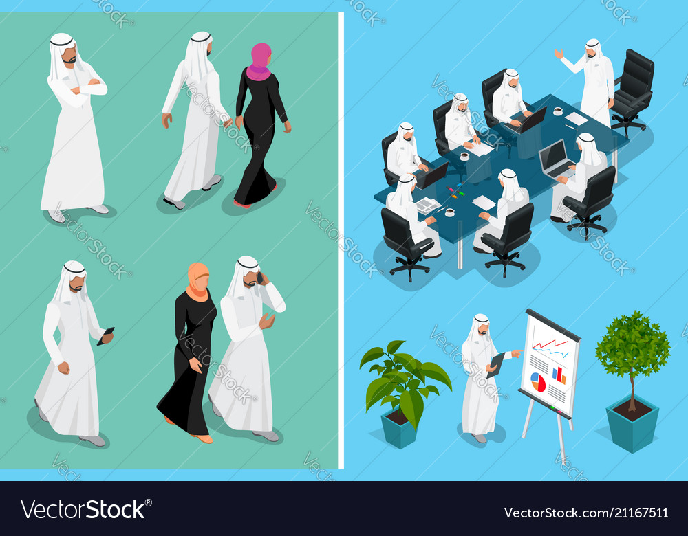 Isometric businessman saudi arab man and woman