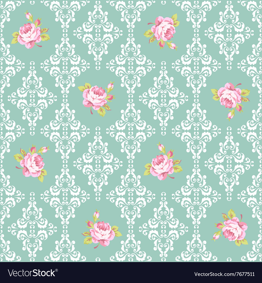 Seamless Pattern with roses and damask elements