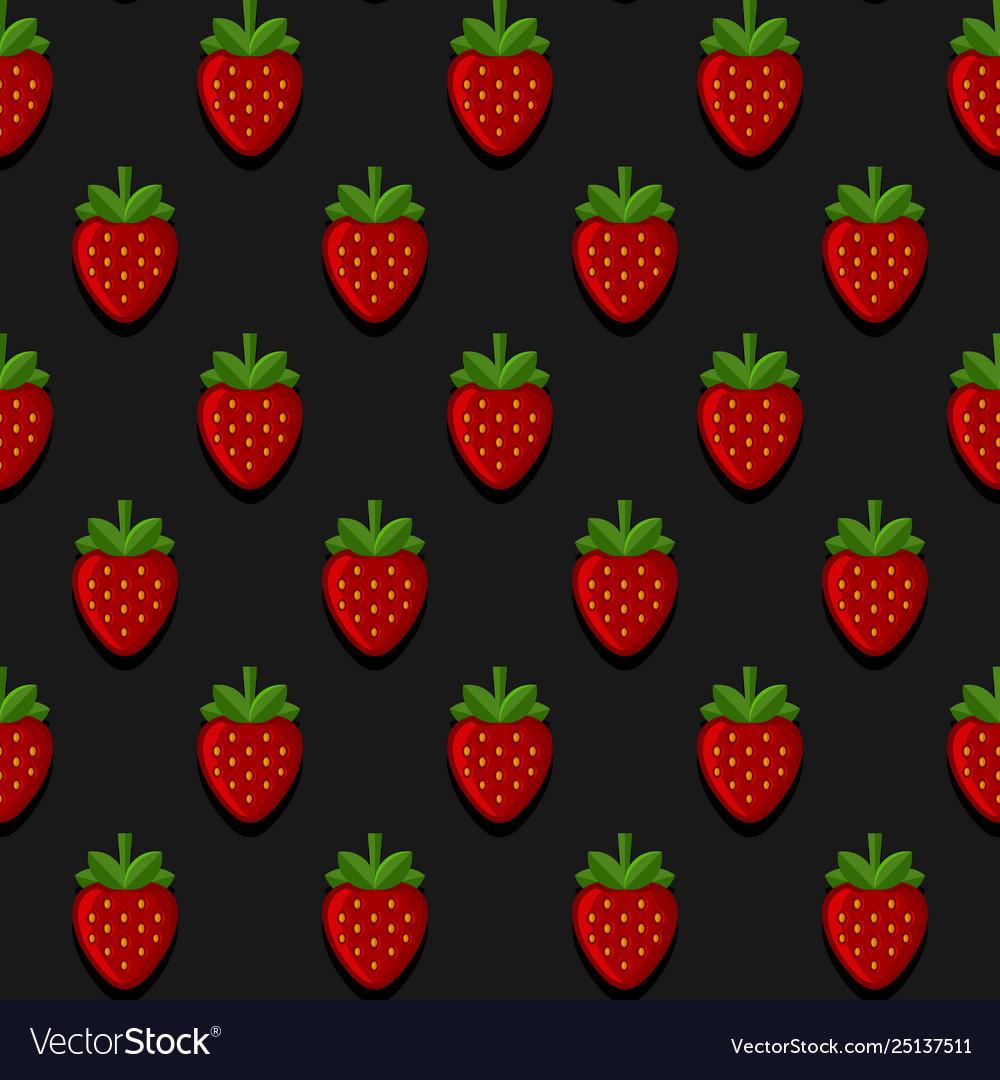 Seamless strawberry pattern on dark background