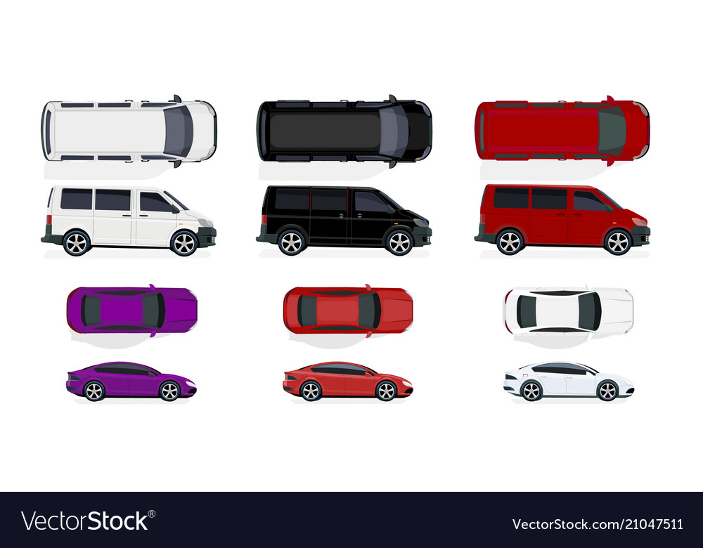 Set of black and white red cars side view and