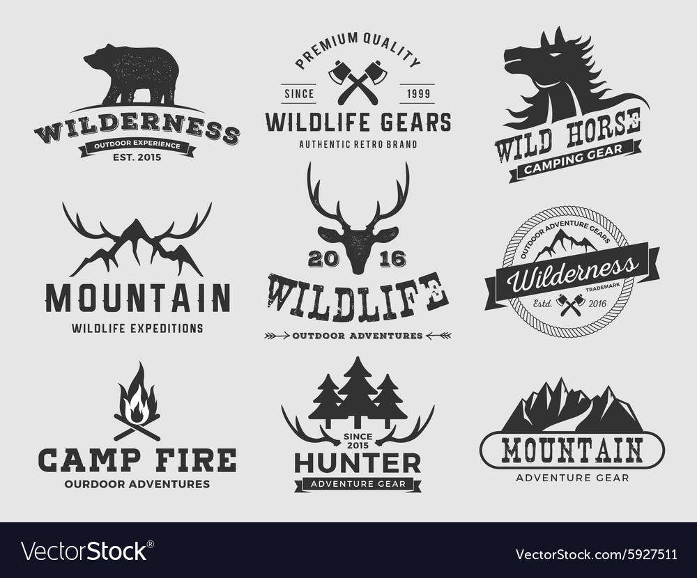 Set outdoor wilderness adventure and mountain