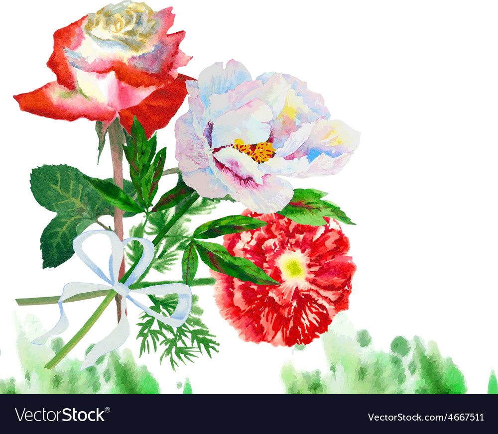 Watercolor background with red poppy-06