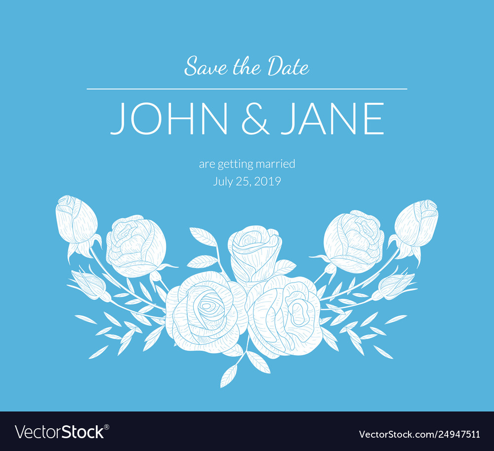 Wedding invitation template with bouquet of
