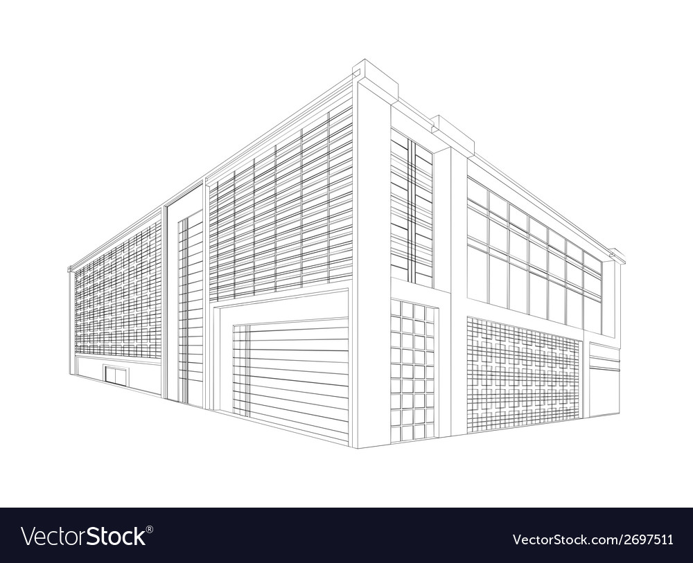 wireframe modern building royalty free vector image