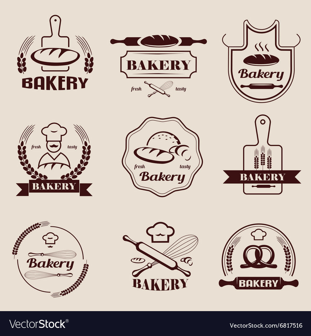 Bakery retro emblem and labels collection design