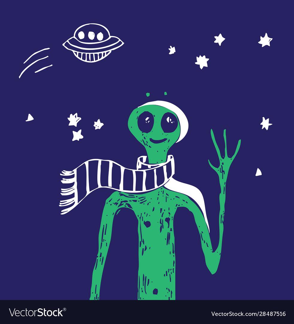 Blue space ufo alien stars green people poster