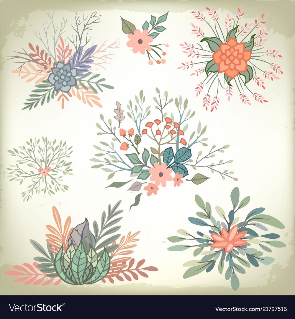 Collection of vintage romantic floral elements