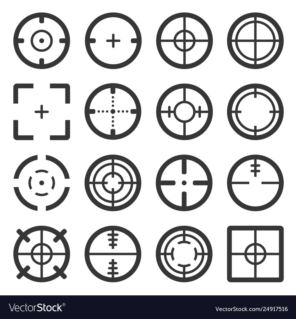 Crosshair icons set on white background