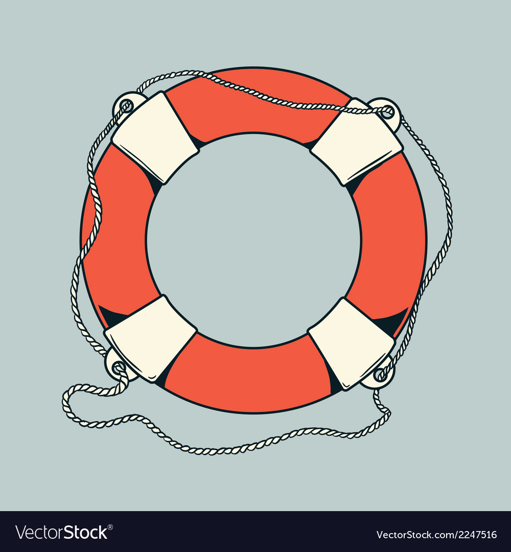 Detailed outlines colored nautical life buoy
