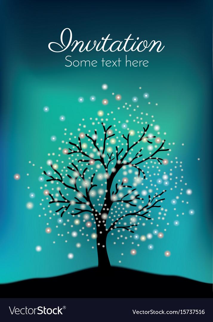 Glowing tree on the night sky