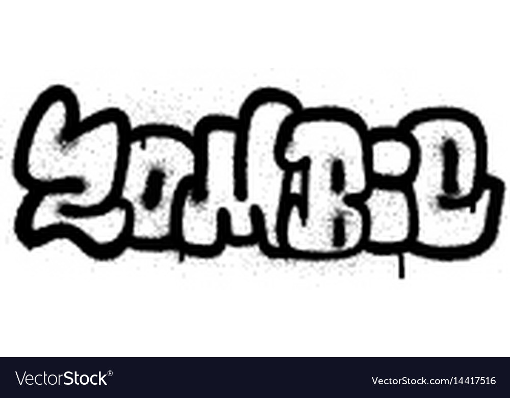 Graffiti sprayed zombie fonts in black over white vector image
