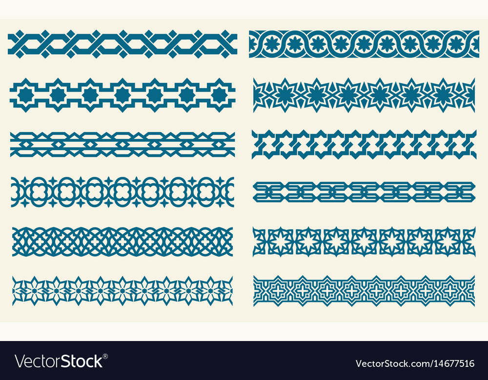 Islamic ornaments link seamless decorative vector image