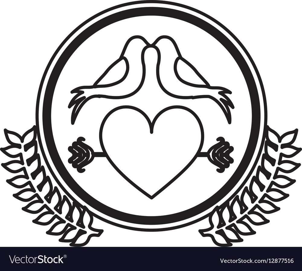 Monochrome heart crossed by arrow in circle with vector image