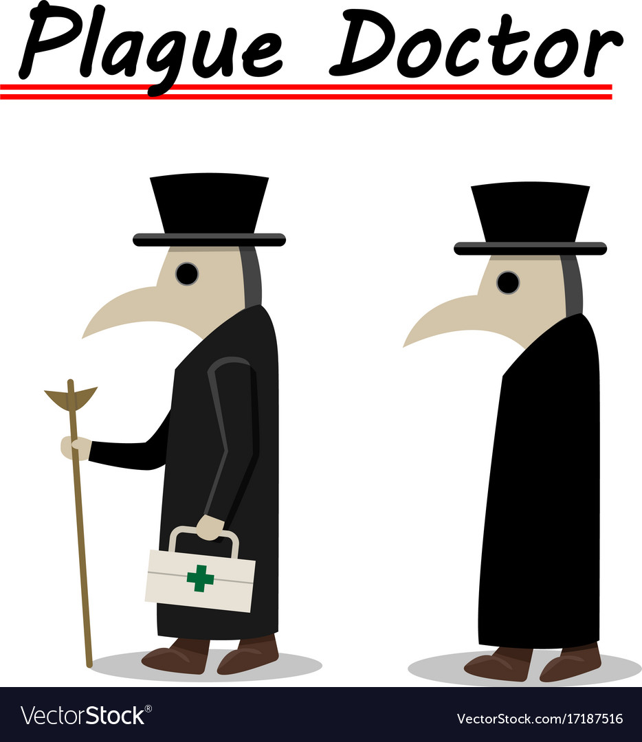 Plague doctor side view in flat