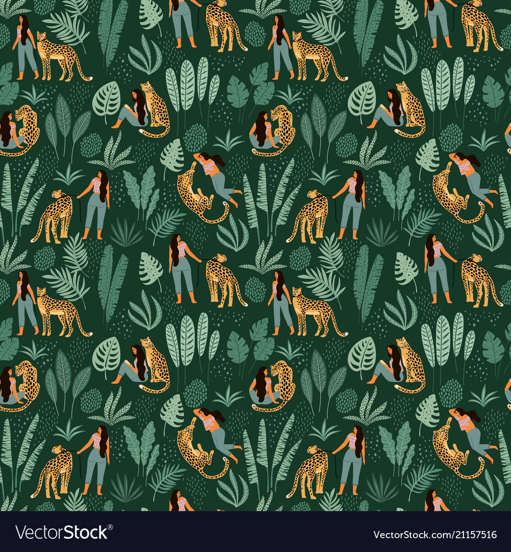 Seamless pattern with women leopards and