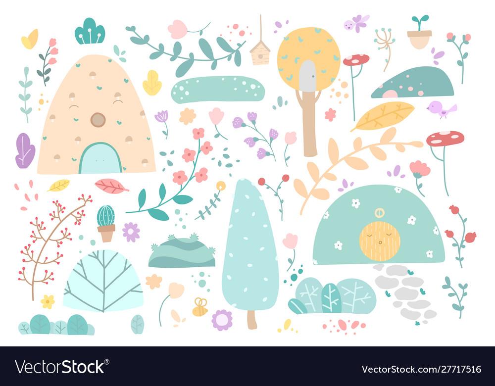 Set doodle floral elements autumn collection