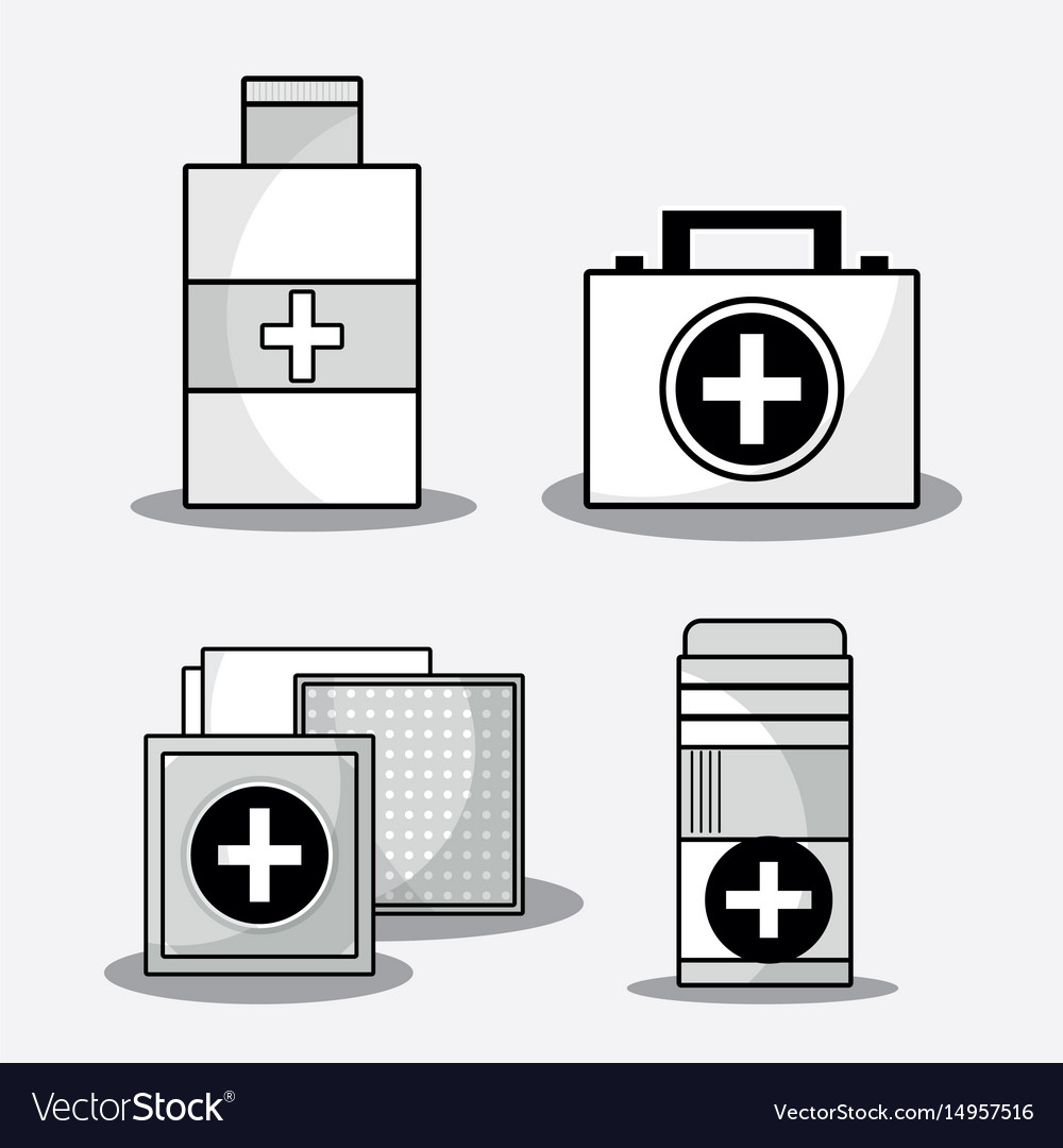 Set first aid kit with treatment tools